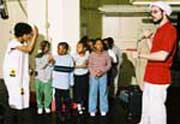 Children giving a performance in the Amber School.